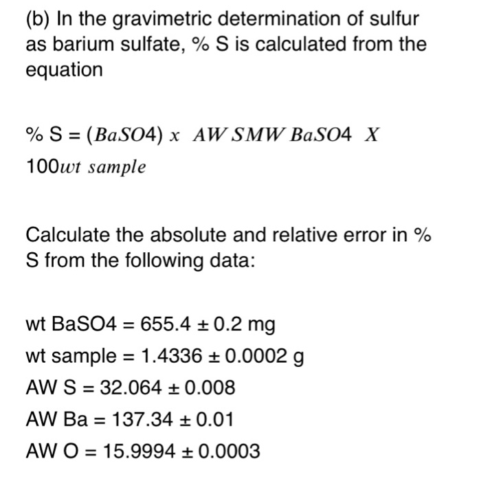 gravimetric determination of sulfate calculations