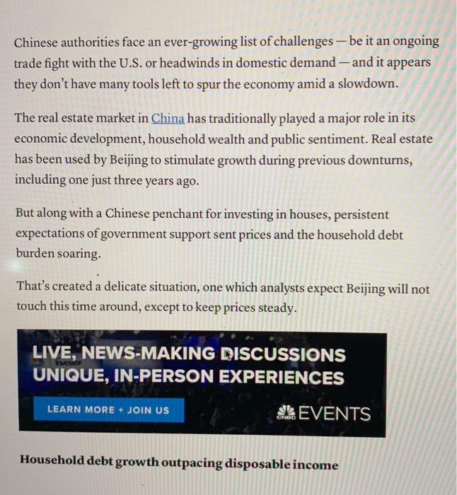 Solved: Please Read This Article About China Economic Deve