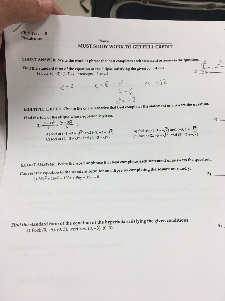 Solved: Ch  9 Test -B Precalculus Na Me MUST SHOW WORK TO