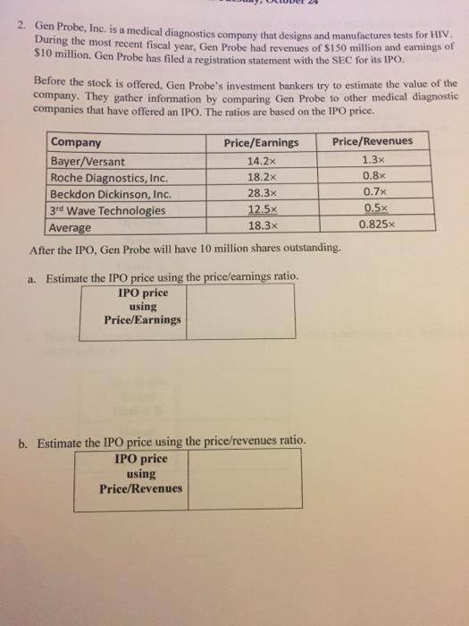 Solved: 2. Gen Probe, Inc. Is A Medi Cal Diagnostics Compa ...