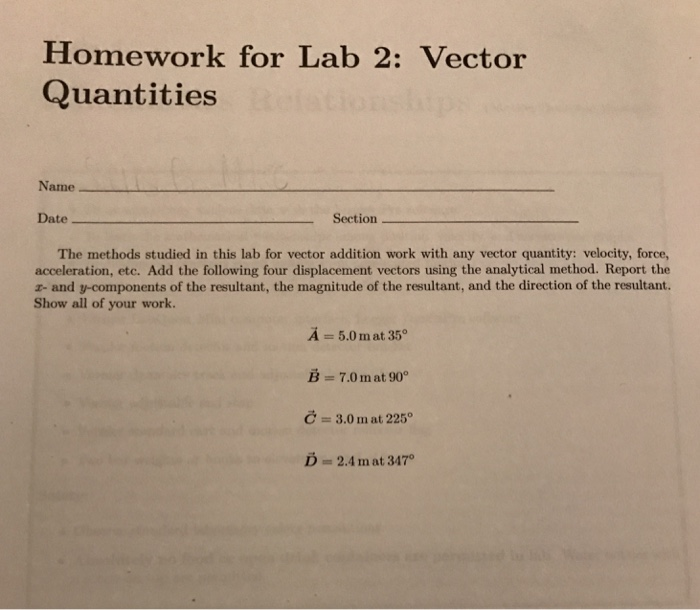 vector addition lab report Answer to laboratory 3 force table and vector addition of forces laboratory report data taller equilibrant fi resultant equilibran.