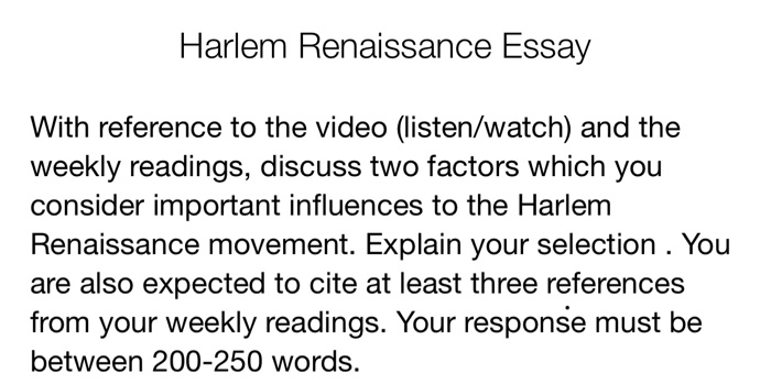 Narrative Essay Thesis Statement Examples Harlem Renaissance Essay With Reference To The Video Listenwatch And The  Weekly How To Write A Thesis For A Narrative Essay also High School Graduation Essay Solved Harlem Renaissance Essay With Reference To The Vid  English Essays Topics