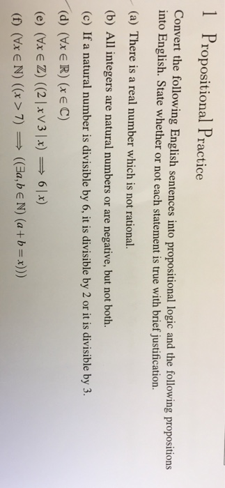 Solved: 1 Propositional Practice Convert The Following Eng