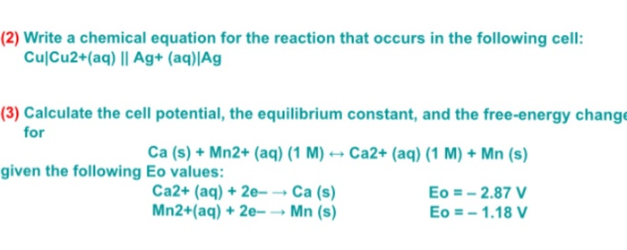 Solved: Write A Chemical Equation For The Reaction That Oc ...