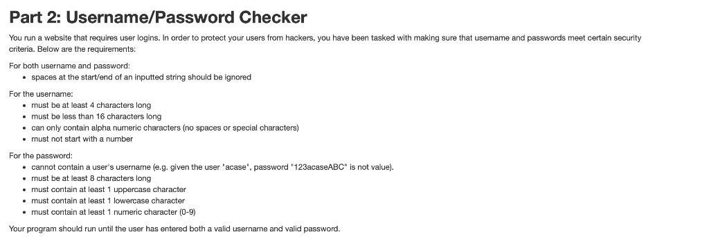 Solved: Part 2: Username/Password Checker You Run A Websit