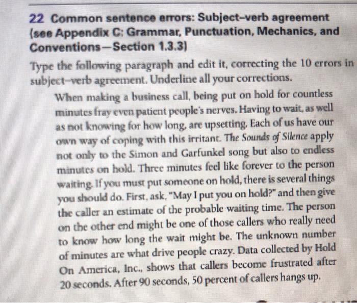 22 Common Sentence Errors Subject Verb Agreement Chegg