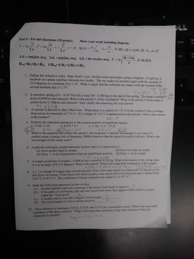 Solved: T T Part C: Pre Lab Qacstioes (30 Poiss) Show Yoar ...
