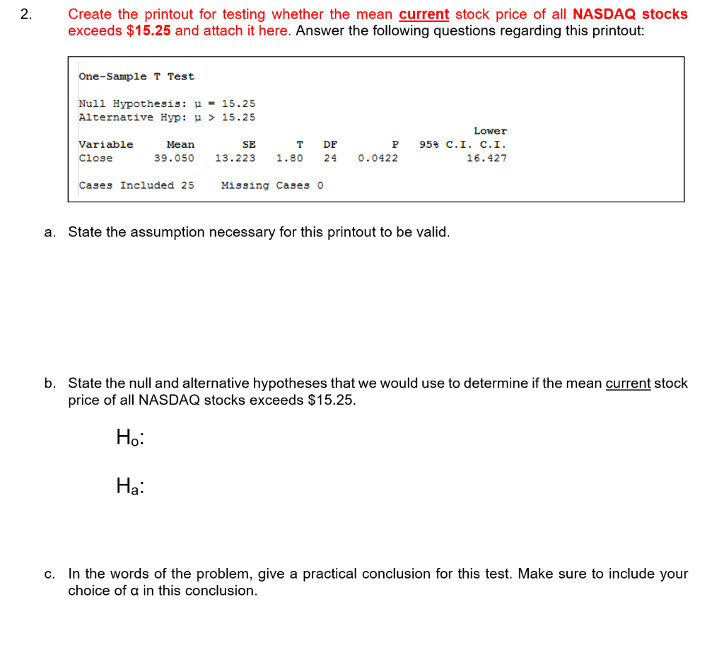 Solved: 2  Create The Printout For Testing Whether The Mea