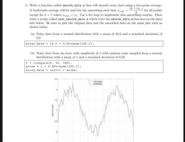 Solved: 5  Write A Function Called Smooth_data m That Will