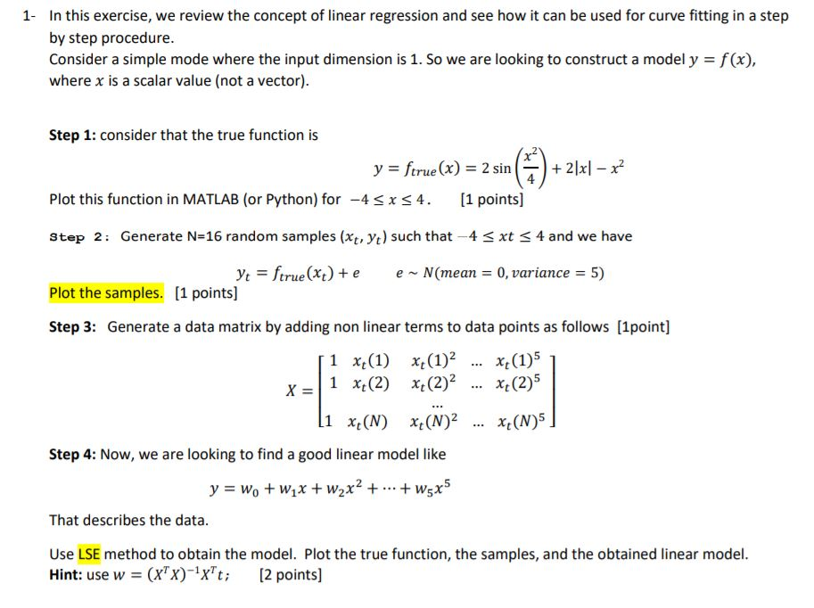 Hi, I Have This Exercise  It Is About Linear Regre