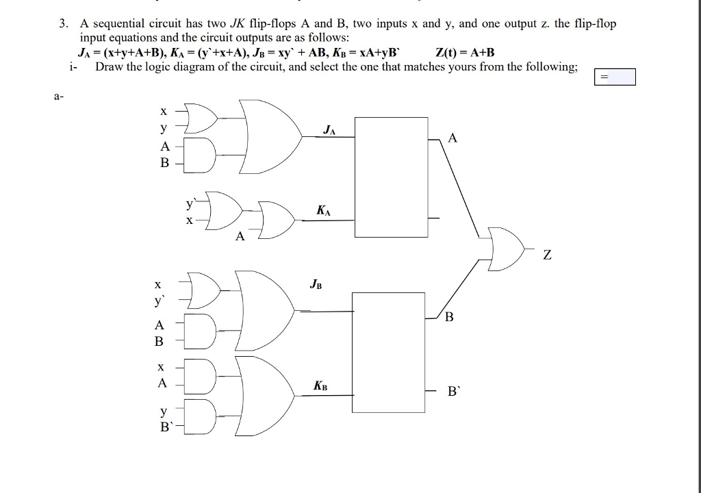 a sequential circuit has two jk flip-flops a and b, two
