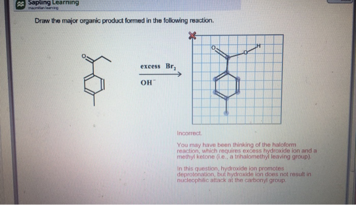H 2 O V 4 Hoh Draw The Major Organic Product Formed In