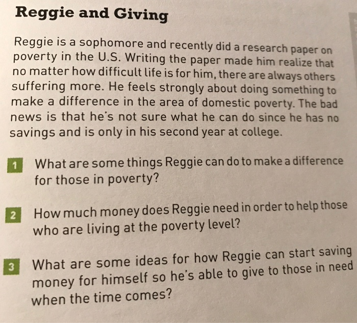 Solved: Reggie And Giving Reggie Is A Sophomore And Recent
