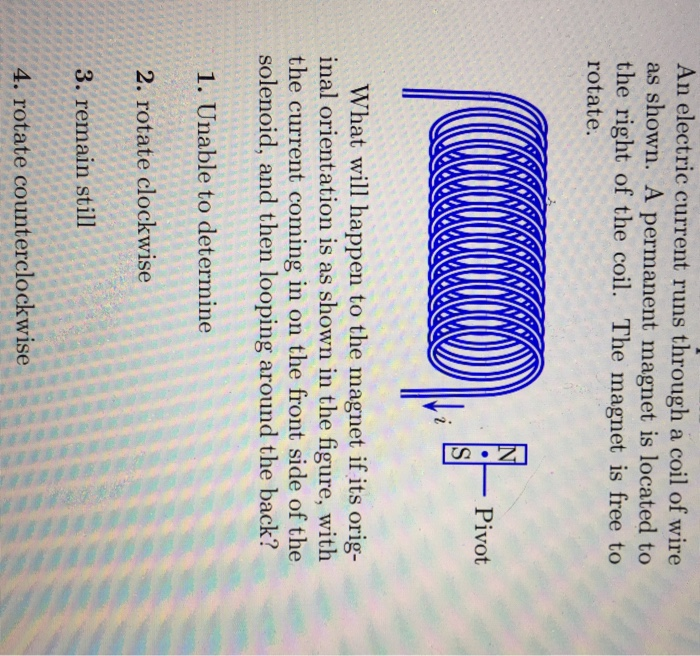 Solved: An Electric Current Runs Through A Coil Of Wire As ...