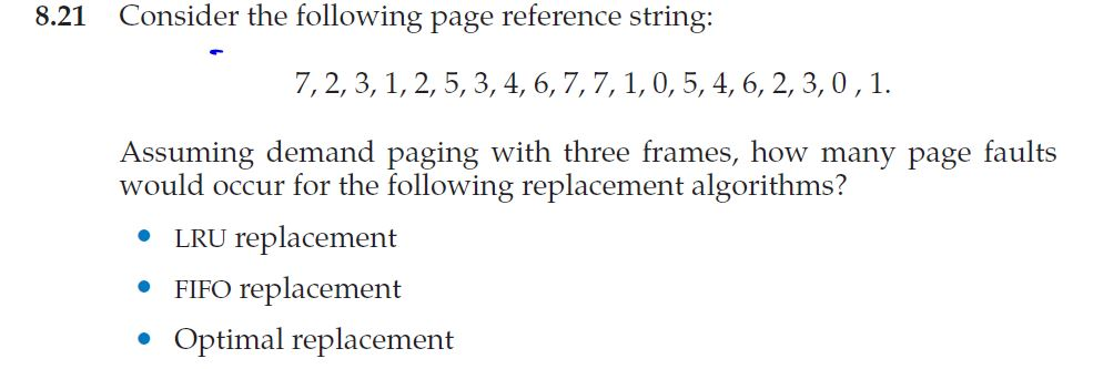 8.21 Consider the following page reference string: 7, 2, 3, 1, 2, 5, 3, 4, 6,7, 7,1, 0, 5, 4, 6, 2, 3,0,1 Assuming demand pag