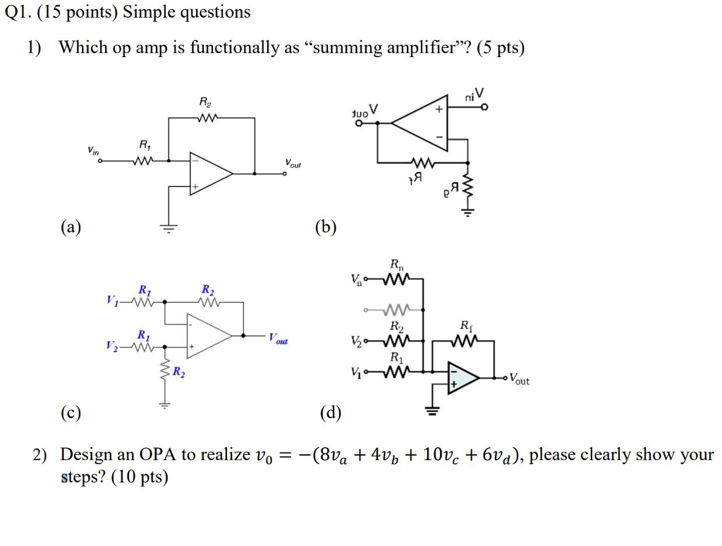 Q1. (15 points) Simple questions 1) Which op amp is functionally as summing amplifier? (5 pts) ni R2 duo Vin R Vi Vout 2) Design an OPA to realize vo - -(8va 4Vb 10ve 6vd), please clearly show your steps? (10 pts)