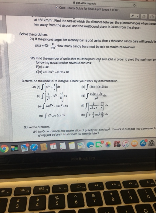Solved: B Calc I-Study Guide For Final-4 pdf (page 4 Of 8