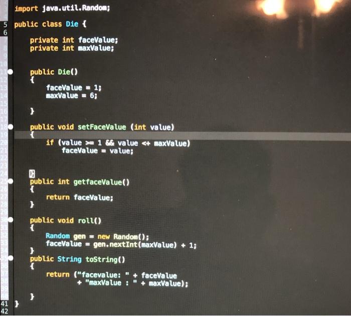 Solved: Ch 6 Activity 4: Die Class GUI 1  Download Die jav