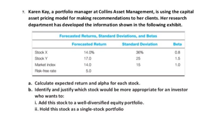 solved karen kay a portfolio manager at collins asset ma