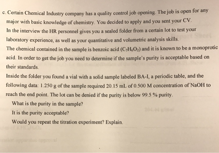 Solved: Certain Chemical Industry Company Has A Quality Co