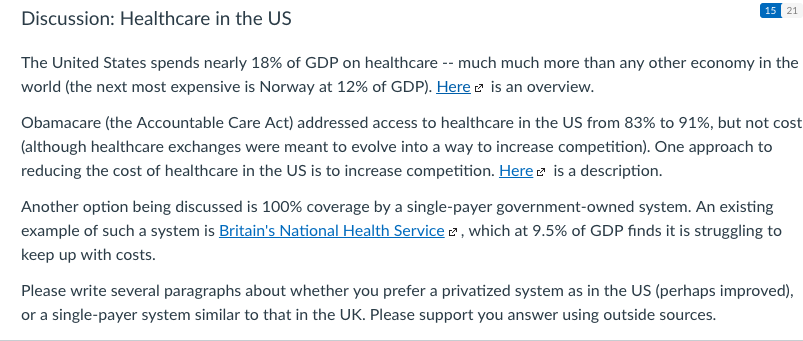 Solved: 15 21 Discussion: Healthcare In The US The United