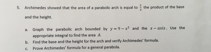 Solved: 5  Archimedes Showed That The Area Of A Parabolic
