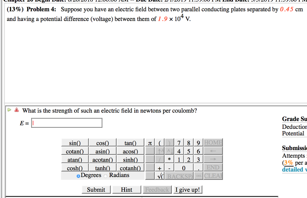 13 Problem 4 Suppose You Have An Electric Field Between Two Parallel