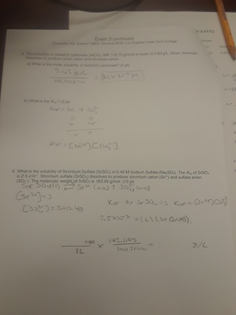 Solved: 2 (LATTC Exam 3 (continued) Trade Techn Coleg The