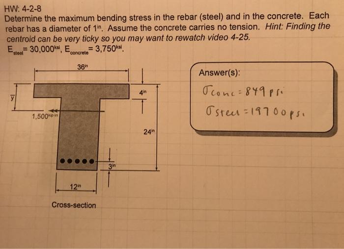 Solved: HW: 4-2-8 Determine The Maximum Bending Stress In