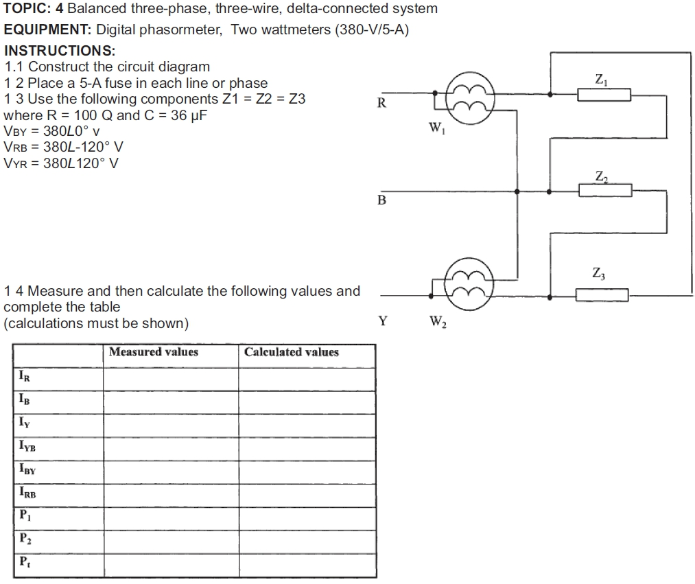 TOPIC: 4 Balanced three-phase, three-wire, delta-connected system