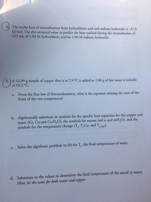 heat of neutralization values
