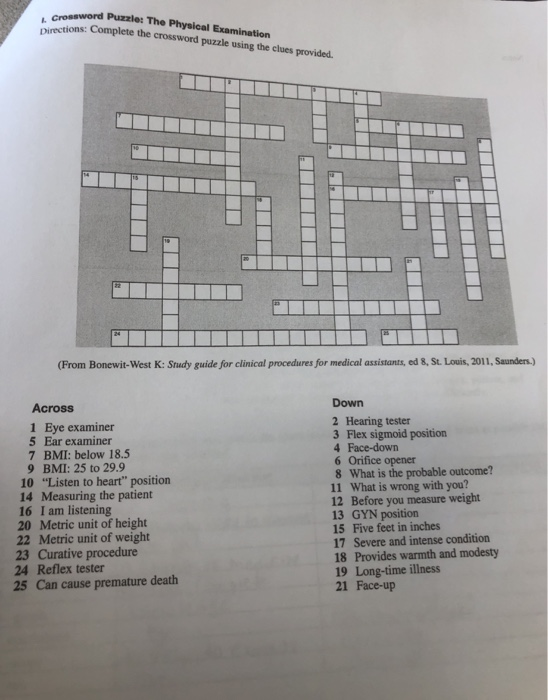 Solved Crossword Puzzle The Physical Examination Direc Chegg Com