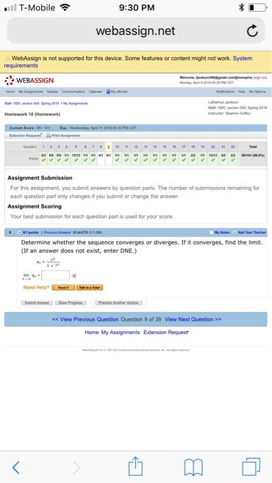 Webassign Mobile