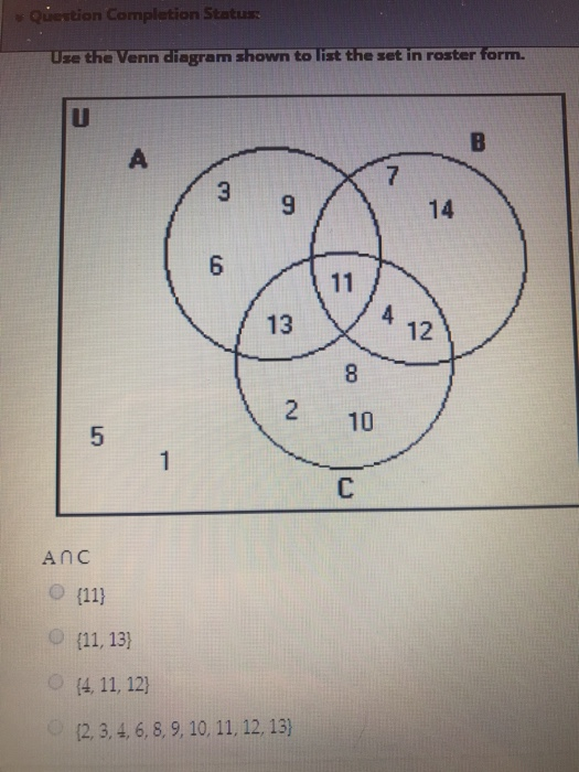 Solved N Completion Status Use The Venn Diegram Shown To