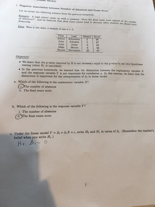 Solved Help With Statistics I Mainly Need Help With The   Negative Association Between Number Of Absences And Exam Score Let Us  Revisit The Following