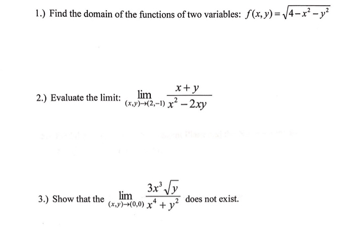 Solved: 1 ) Find The Domain Of The Functions Of Two Variab