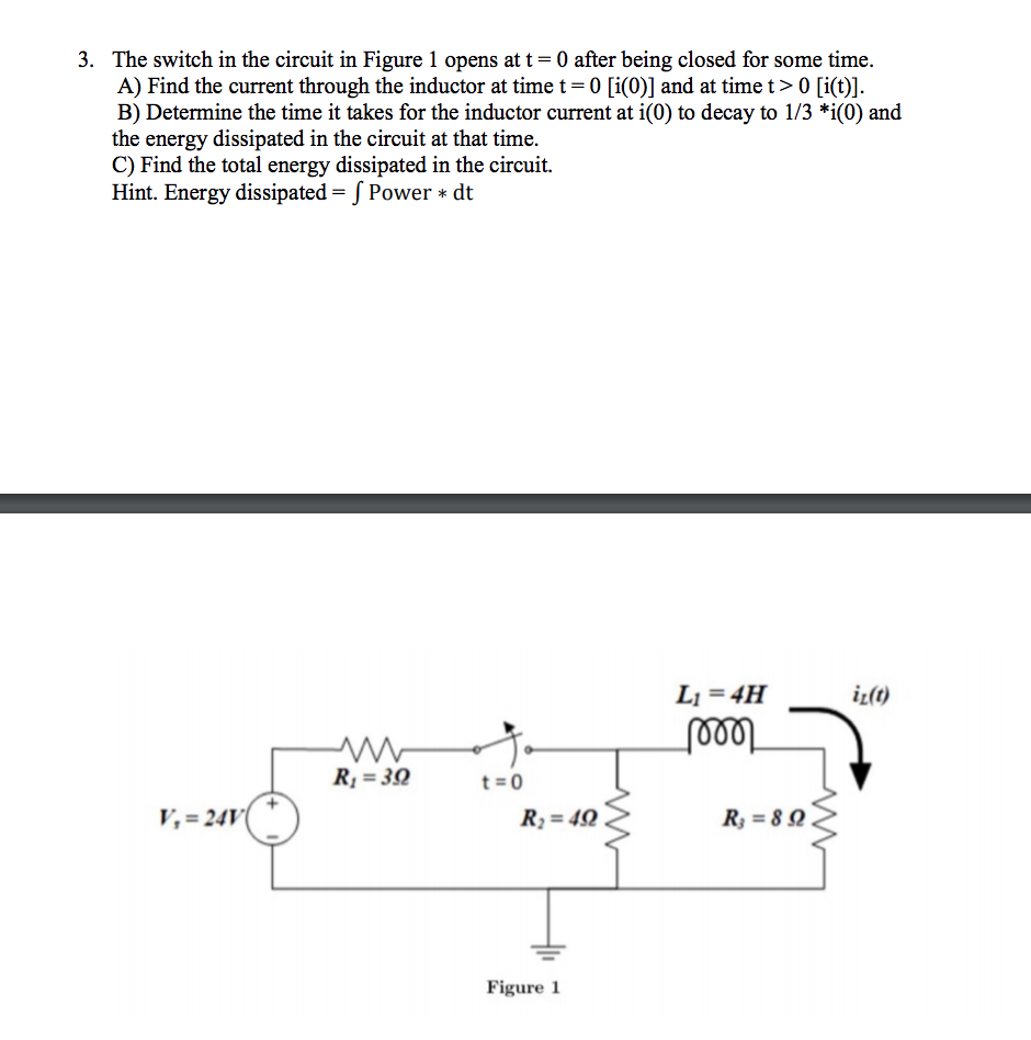 Question: The switch in the circuit in Figure 1 opens at t-0 after being  closed for some time. A) Find the .