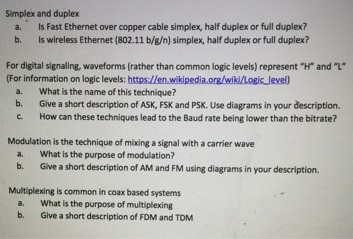 Simplex And Duplex Is Fast Ethernet Over Copper Ca    | Chegg com