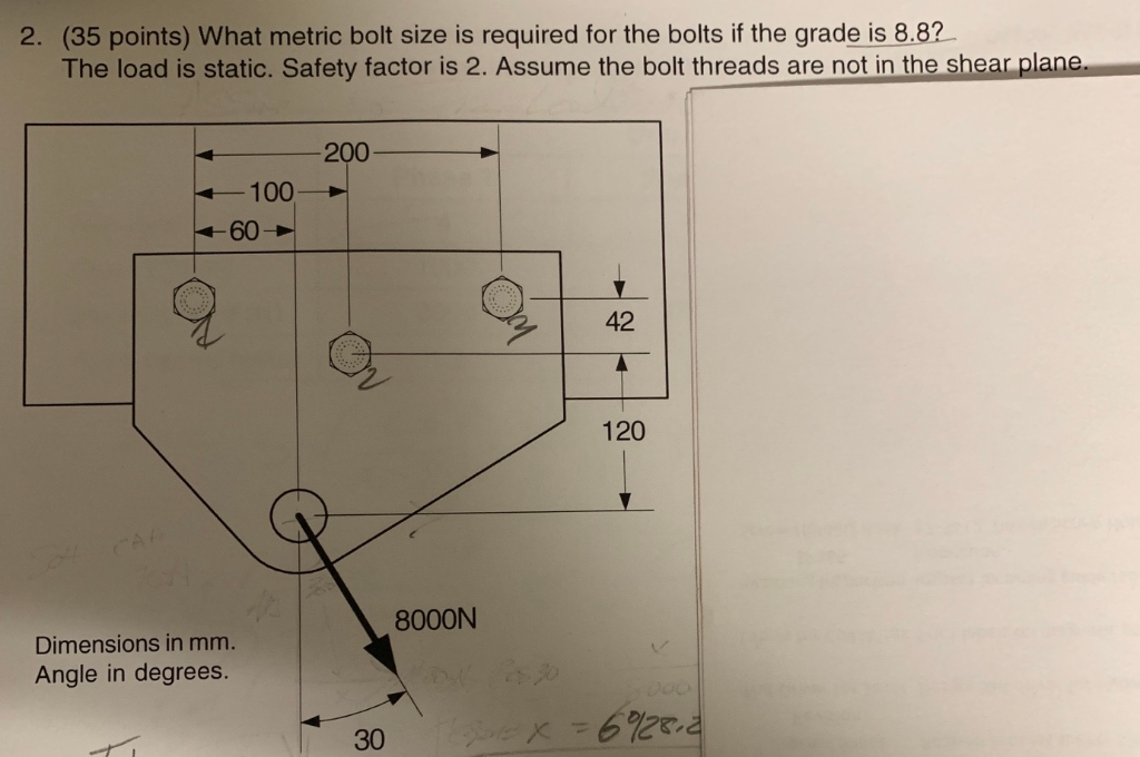 Solved: 2  (35 Points) What Metric Bolt Size Is Required F