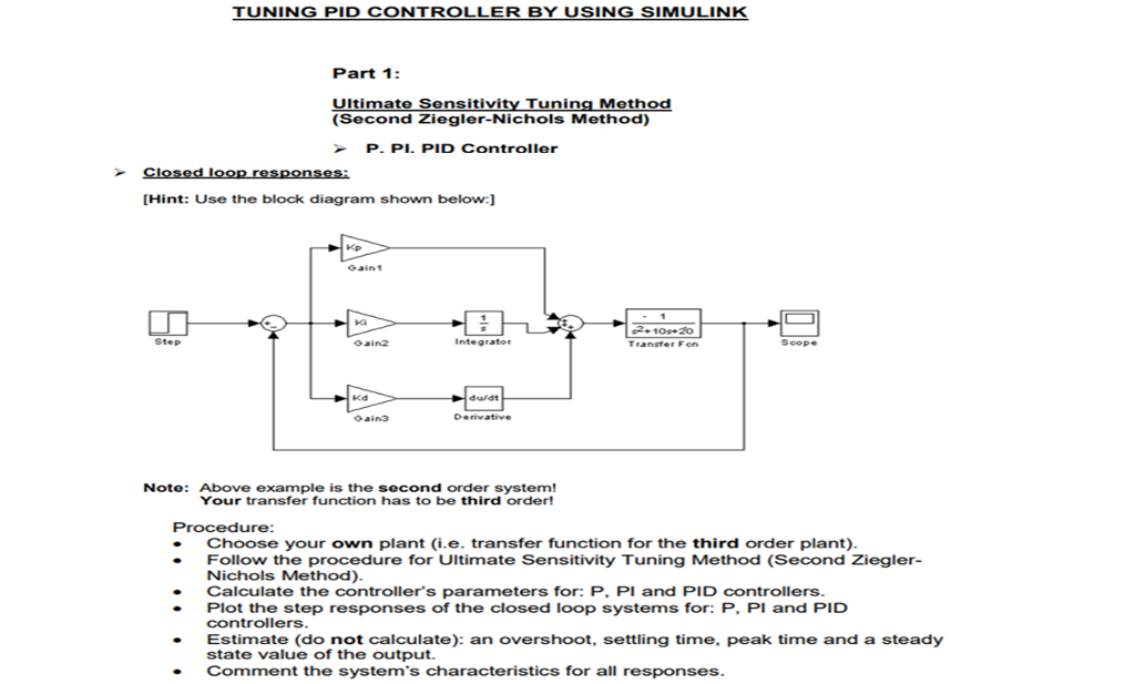 Solved Tuning Pid Controller By Using Simulin Part 1 Ult