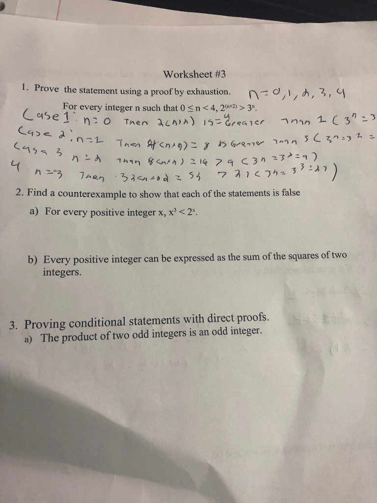 Solved: Worksheet #3 1. Prove The Statement Using A Proof ...