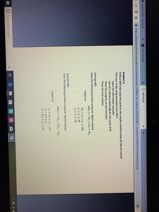 X Hw 05 pdf Problem 2: Write A MATLAB Script The P    | Chegg com