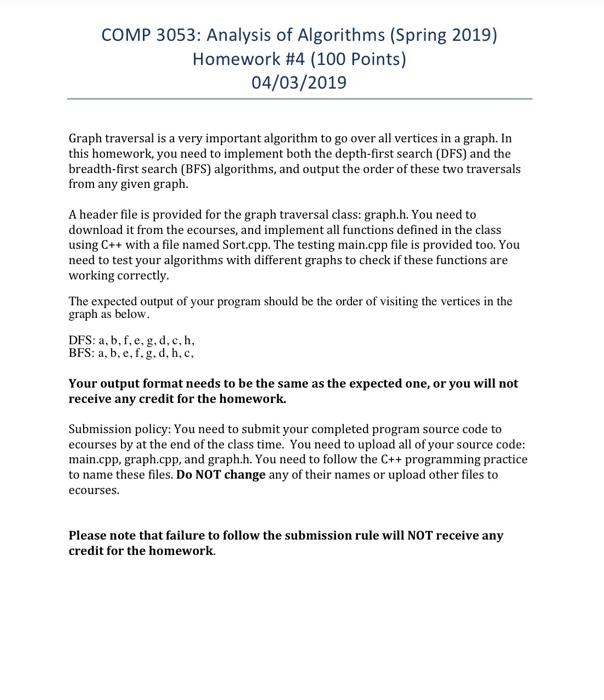 Solved: COMP 3053: Analysis Of Algorithms (Spring 2019) Ho