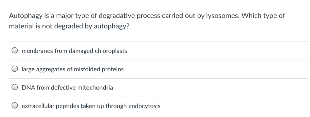 Autophagy is a major type of degradative process carried out by lysosomes. Which type of material is not degraded by autophag