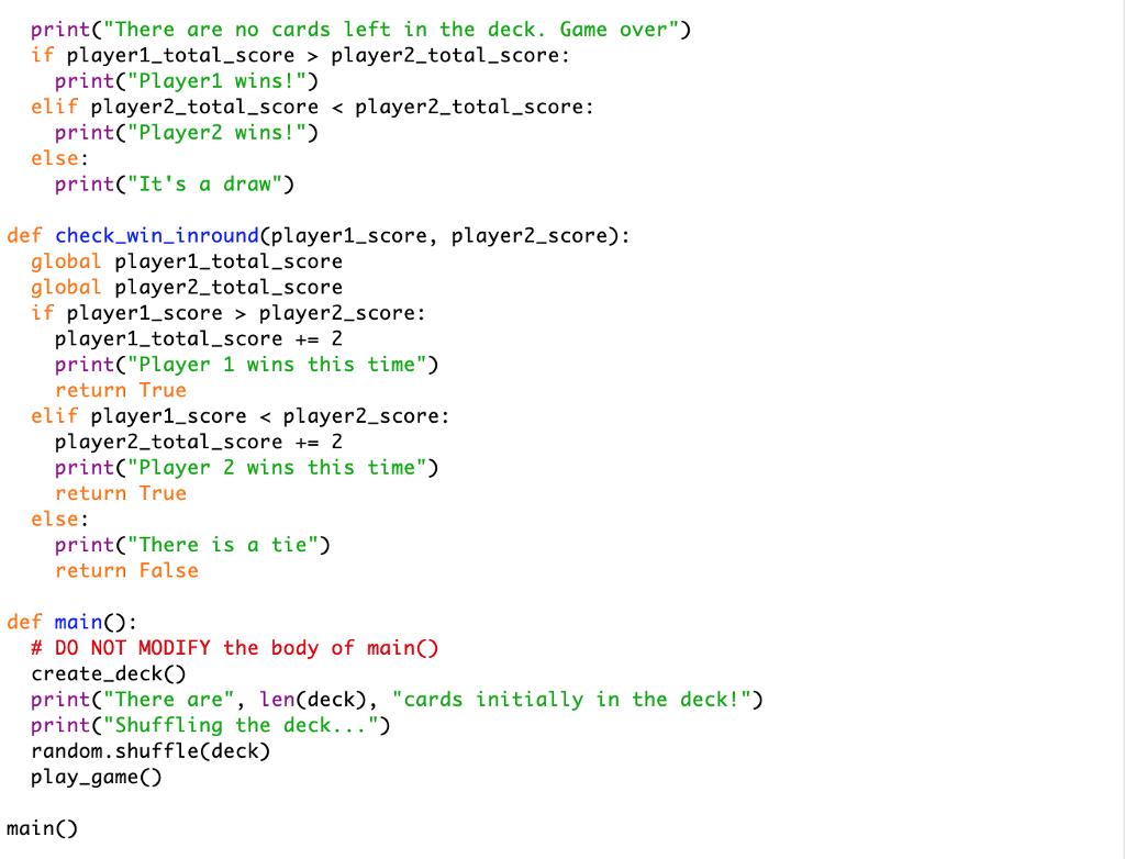 2 Player Card Game Python