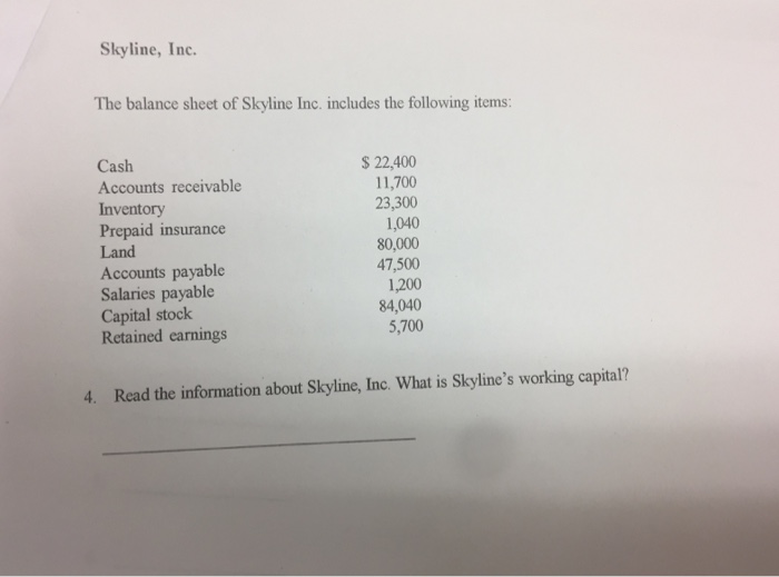 Accounting archive february 09 2017 chegg skyline inc the balance sheet of skyline inc includes the following items fandeluxe Gallery