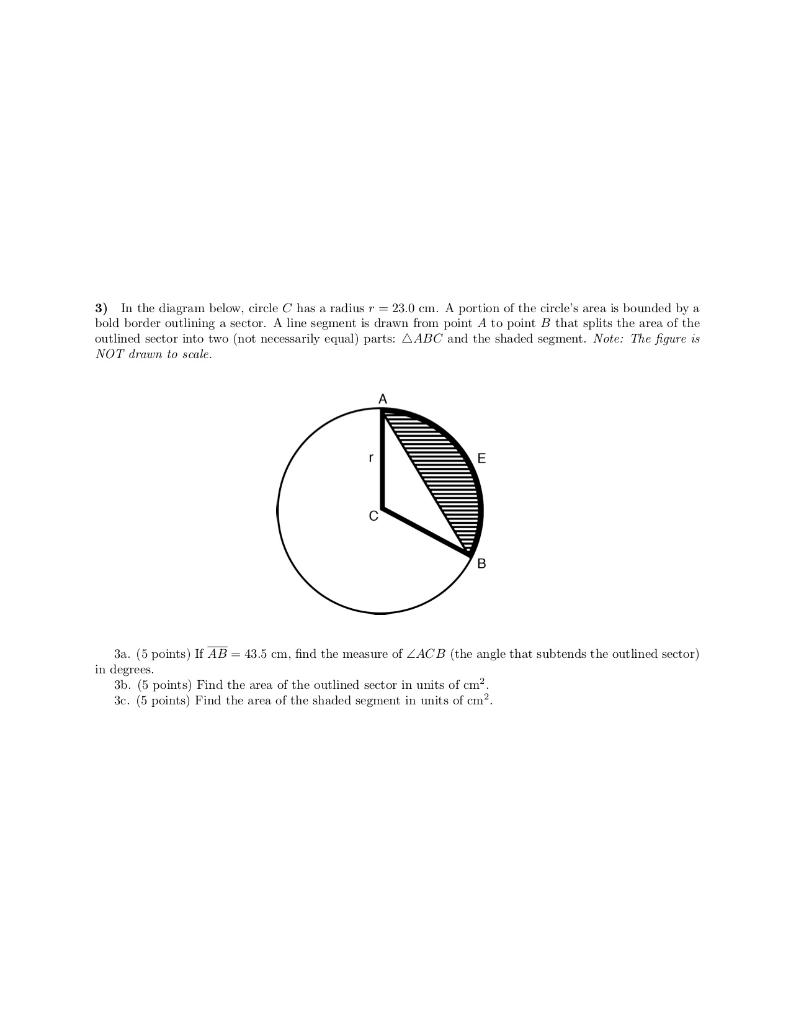Solved  3  In The Diagram Below  Circle C Has A Radius R 2