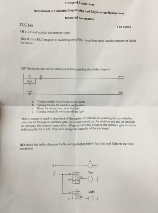 Solved: College Of Engineering Department Of Industrial En