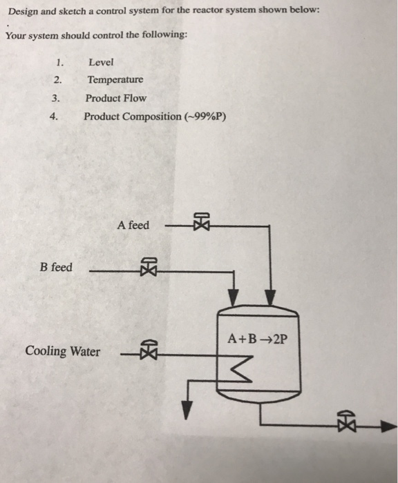 Design and sketch a control system for the reactor system shown below: Your system should control the following: 1. 2. 3. 4. Level Temperature Product Flow Product Composition (-99%P) A feed Breed- A+B→2P Cooling WaterR 必