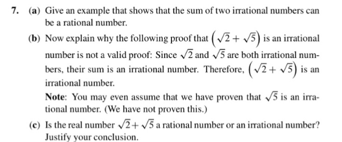 Solved 7 A Give An Example That Shows That The Sum Of